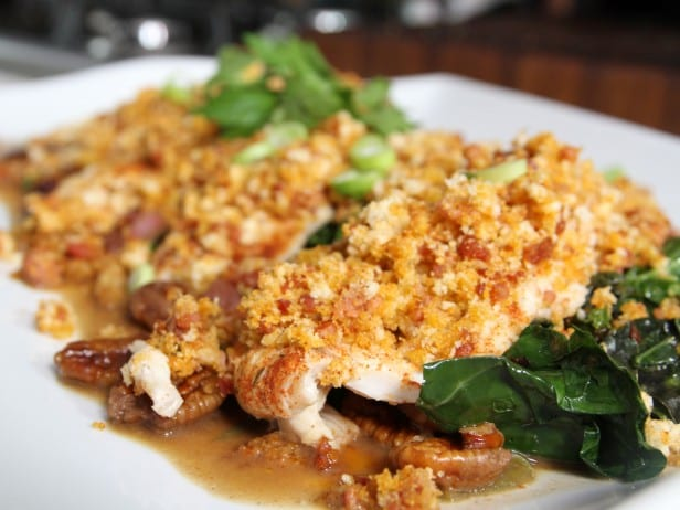 Andouille Crusted Black Drum with Sautéed Kale and Pecan Butter Sauce