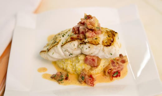 Naples Fishing Recipes: Pan Seared Florida Grouper with Smoked Gouda Grits and Tomato-Bacon Gravy